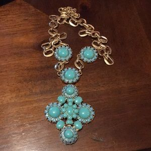 Joan Rivers 8 inch turquoise flower necklace